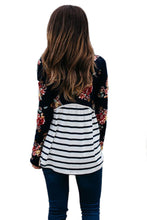 Load image into Gallery viewer, Black Floral Striped Babydoll Tunic