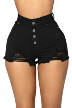 Load image into Gallery viewer, Black Close Fit High Waist Denim Shorts