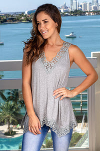 Heather Gray Top with Embroidered Hem