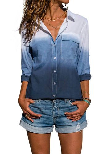 Blue Ombre V Neck Roll Long Sleeve Button Down Shirt