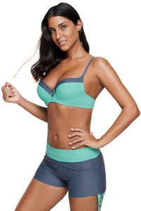 Mint Grey Bicolor Patchwork Underwired Bikini Swimsuit
