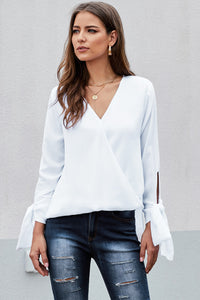 White V Neck Ruched Tie Sleeve Top