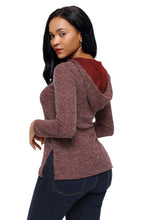 Load image into Gallery viewer, Wine Long Sleeve Knit Hooded Top