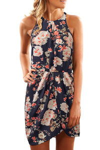 Black Halter Neck Floral Print Sleeveless Casual Mini Dress