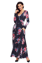 Load image into Gallery viewer, Black Floral Surplice Long Sleeve Maxi Boho Dress