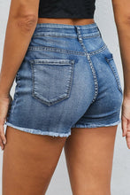 Load image into Gallery viewer, Light Blue Wash Heartbreaker Distressed Denim Shorts