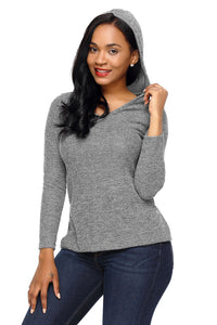 Grey Long Sleeve Knit Hooded Top