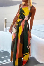 Load image into Gallery viewer, Split Color Block Print Maxi Dress