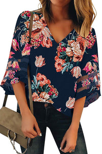Red 3/4 Flared Sleeve Floral Blouse