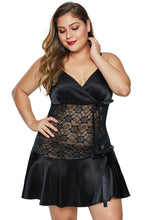Load image into Gallery viewer, Black Wrapped V Neck Floral Lace Abdomen Plus Size Babydoll