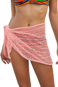 Pink Stylish Crochet Sarong Cover up