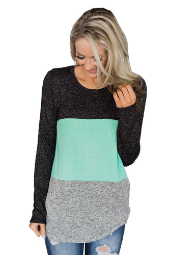 Mint Looking' Cute In A Color Block Top
