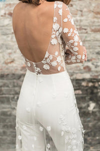 White Perspective Lace Long Tail Party Jumpsuit