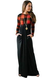 Black Buffalo Print Top Long Maxi Dress