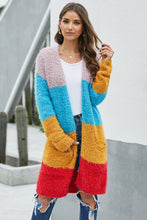 Load image into Gallery viewer, Multicolor Color Block Drape Oversized Knitted Cardigan
