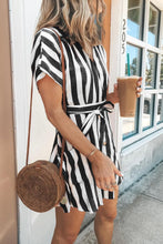 Load image into Gallery viewer, Black Fashion Stripe Short Sleeve Casual Dress