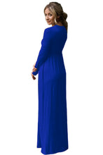 Load image into Gallery viewer, Blue Long Sleeve High Waist Maxi Jersey Dress
