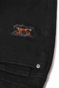 Leopard Patch Detail Black Distressed Jeans