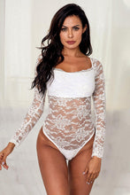 Load image into Gallery viewer, White Long Sleeve Lace Bodysuit