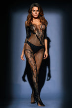 Load image into Gallery viewer, Black Asymmetric Lace Mesh Body Stocking