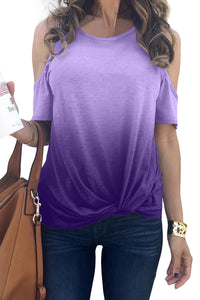 Purple Gradient Cold Shoulder Knot Twisted T-Shirt