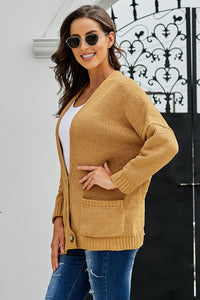Brown Oversize Button Front Cardigan