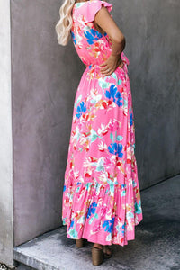 Rose Floral High Low Pocketed Tie Maxi Dress