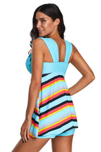 Load image into Gallery viewer, Sky Blue Striped Swimdress Tankini with Shorts