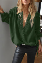 Load image into Gallery viewer, Green Deep V Neckline Crochet Lace Blouse