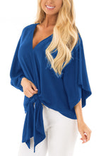 Load image into Gallery viewer, Navy Blue Tie Front Comfy Kimono Blouse