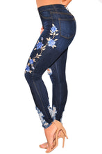 Load image into Gallery viewer, Dark Denim Embroidered Floral Destroyed High Waist Skinny Jeans