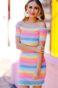 Rainbow Smocked Skirt Set