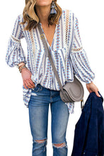 Load image into Gallery viewer, White Long Sleeve V Neck Hollow Out Boho Floral Blouse