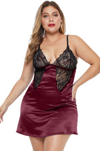 Load image into Gallery viewer, Red Coloblock Lace Cup Hollow-out Plus Size Babydoll