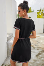 Load image into Gallery viewer, Black Summer Boho Embroidered V Neck Short Sleeve Casual Mini Dress