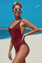 Load image into Gallery viewer, Purple Ribbed One-piece Swimsuit with Belt