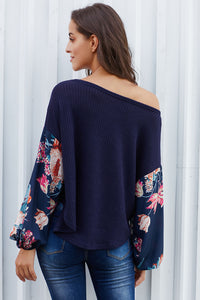 Blue Floral Sleeve Pullover Top