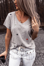 Load image into Gallery viewer, V Neck Stars Print Gray T-shirt
