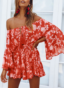 Red Off Shoulder Boho Romper