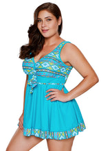 Load image into Gallery viewer, Blue Tribal Print Accent Swimdress and Short Set