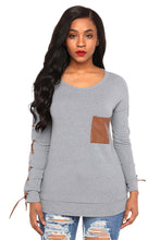 Load image into Gallery viewer, Gray Lace up Sleeve Front Pocket Women's Casual Top
