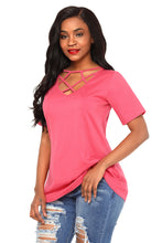 Load image into Gallery viewer, Rosy Criss-Cross Short Sleeve T-Shirt