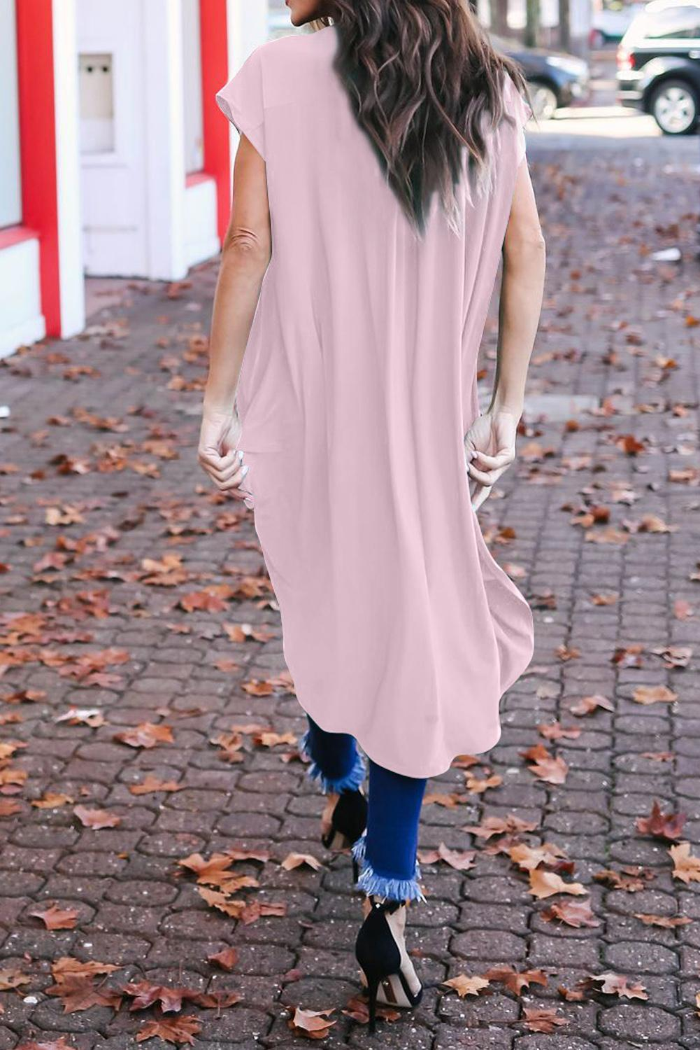 Pink Stylish Drape High Low Top
