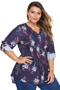 Purple Floral Pintuck Plus Size Blouse