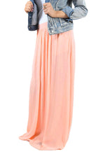 Load image into Gallery viewer, Peachy Pink Elastic Waist Pleated Gauze Maxi Skirt with Lining