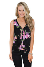 Load image into Gallery viewer, Black Touch The Sky Open Front Floral Tank Top