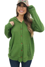 Load image into Gallery viewer, Green Open Front Pocket Button Down Knit Cardigan Coat