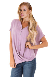 Pink Short Sleeve Button up Blouse with Twisted
