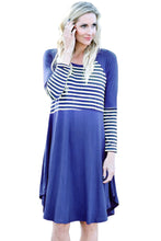 Load image into Gallery viewer, Blue Chic Blocked Stripe Jersey Dress