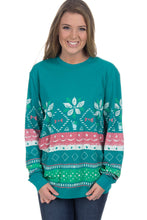 Load image into Gallery viewer, Seafoam Julep Print Stylish Christmas Jumper